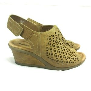 Earth Camel Tan Eyelet Cutout Leather Wedges
